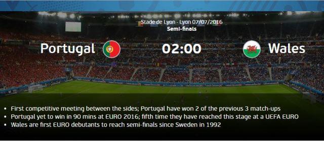 Gambar jadwal Pertandingan Portugal Wales EURO 2016