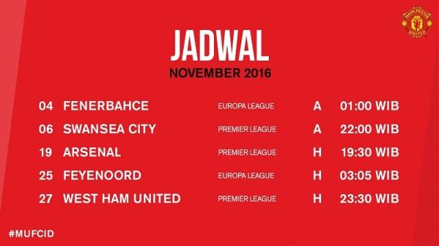 Jadwal Pertandingan Manchester United Bulan November 2016 via @ManUtd_ID