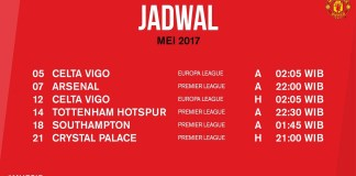 Jadwal Pertandingan MU bulan Mei 2017