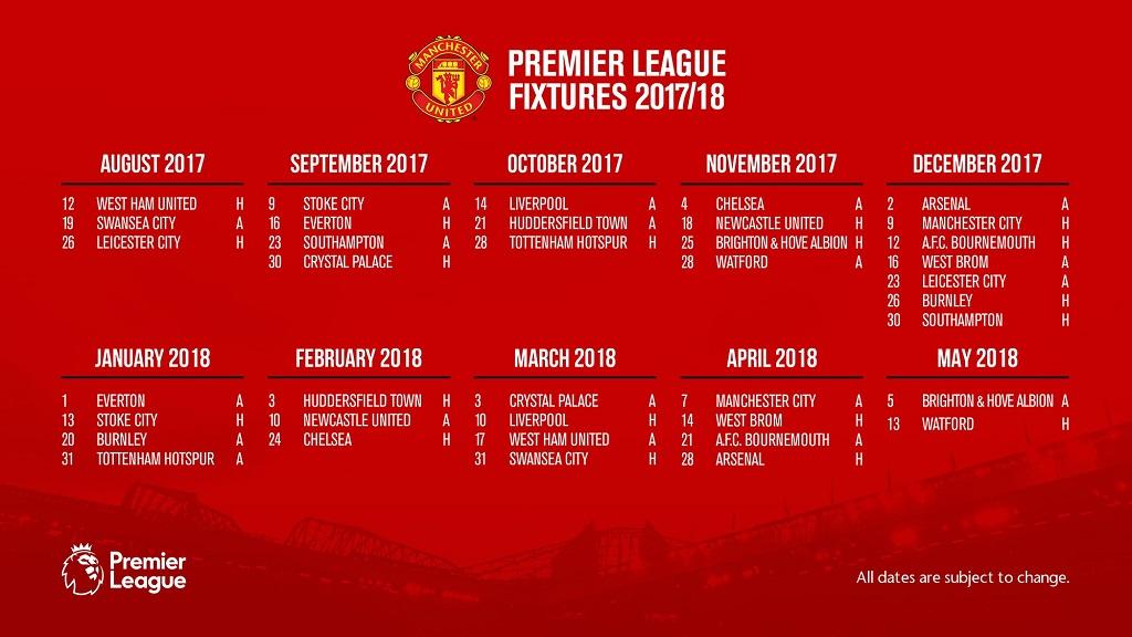 Jadwal Pertandingan Liga Inggris Manchester United Musim