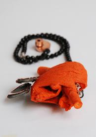 Brooch: Heart, 2009. Wood, cotton, copper, glass stoon, pigment. 100x14x4 cm.