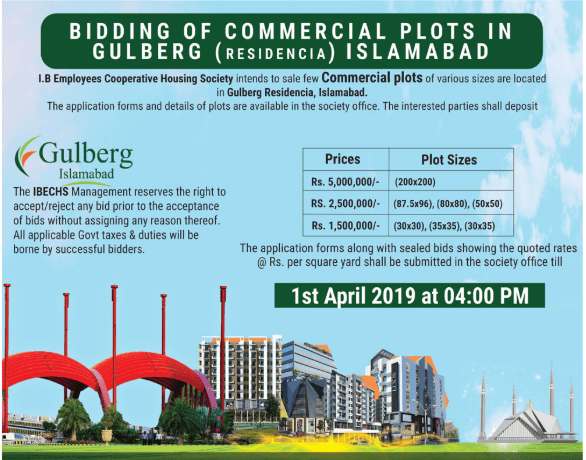 gulberg Islamabad commercial on booking
