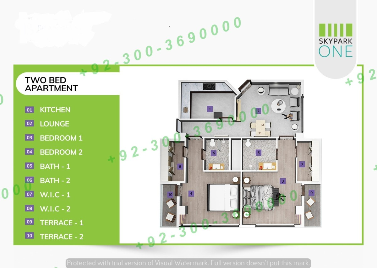 2 bedrooms apartment sky park one