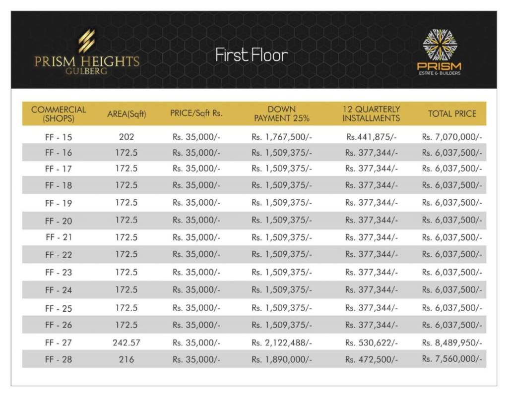 Prism heights gulberg First floor plan 02
