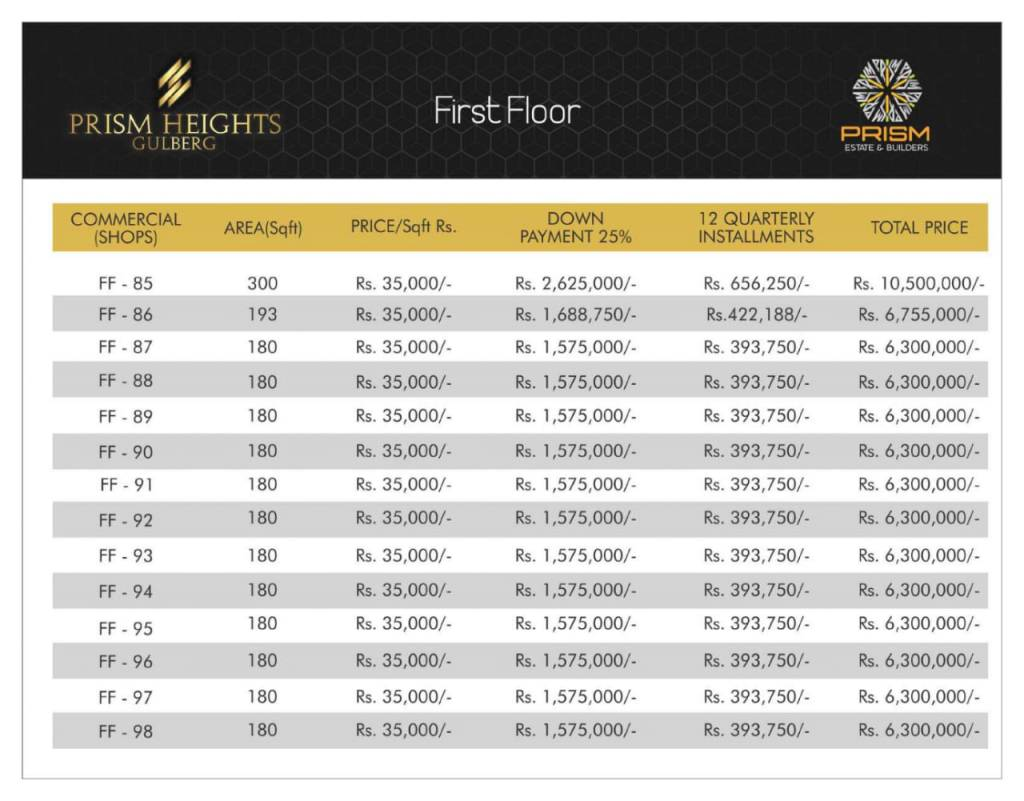 Prism heights gulberg First floor plan 07