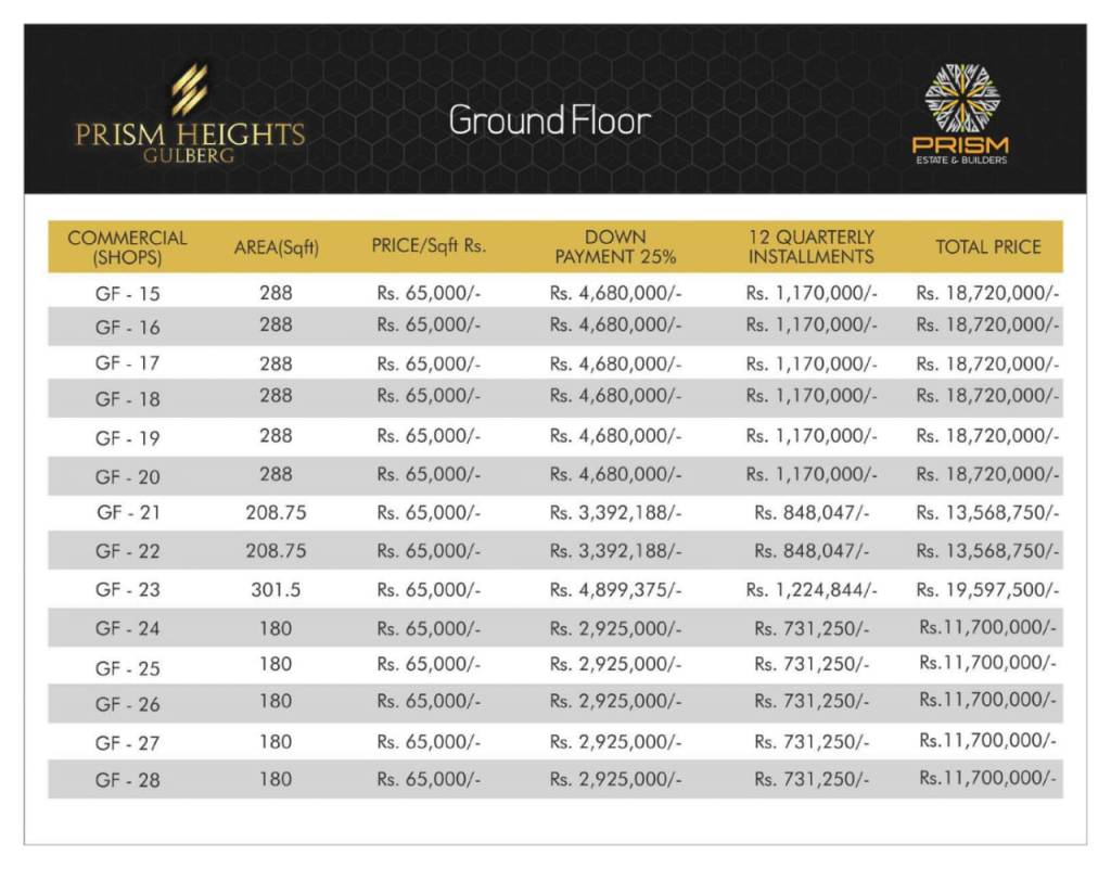 Prism heights gulberg Ground floor plan 02