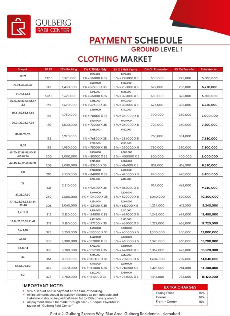 gulberg rabi center Islamabad Payment Plan Ground Level 1 - Clothing Market