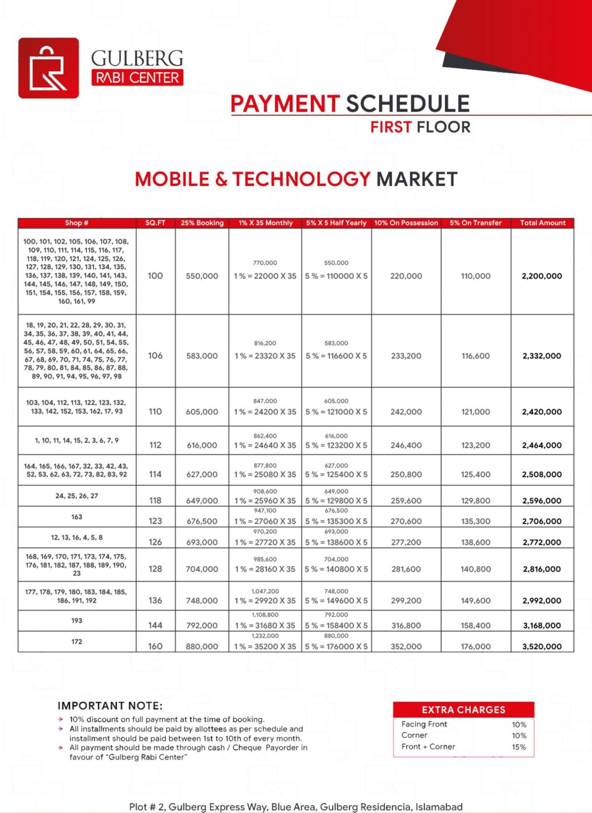 Payment Schedule First Floor - Mobile & Technology Market