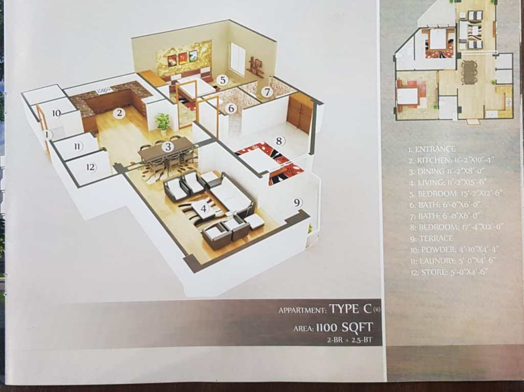 Gulberg Dream Heights 1100 Sq.ft Floor Plan