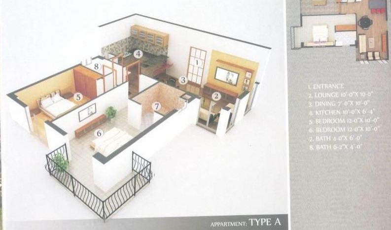 Gulberg Dream Heights 700 Sq.Ft Floor Plan