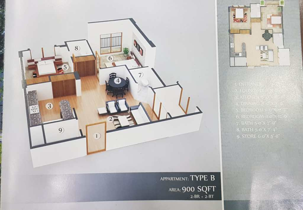 900 Sq.ft Apartment Floor Plan