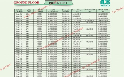 D 8 Heights Ground Floor Payment Plan