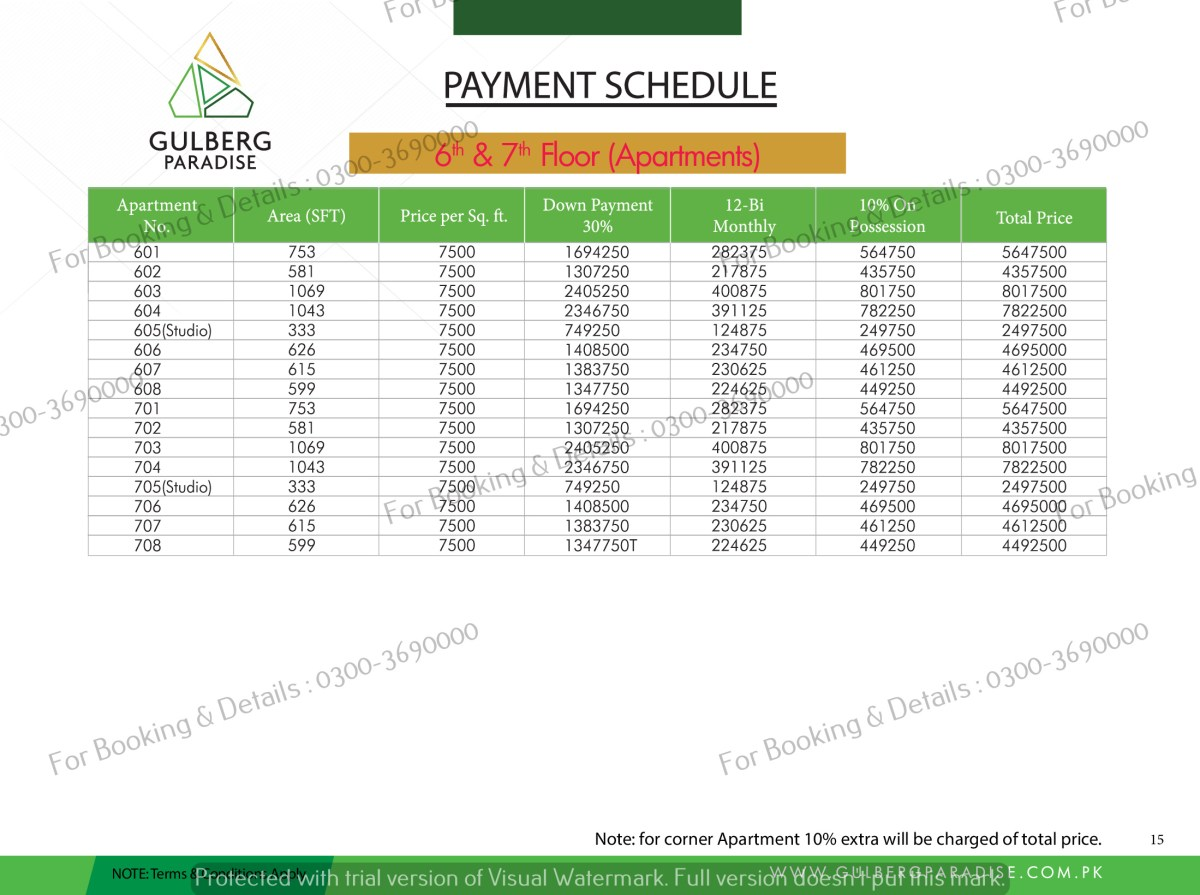 6th & 7th Floor Payment Plan aPartments