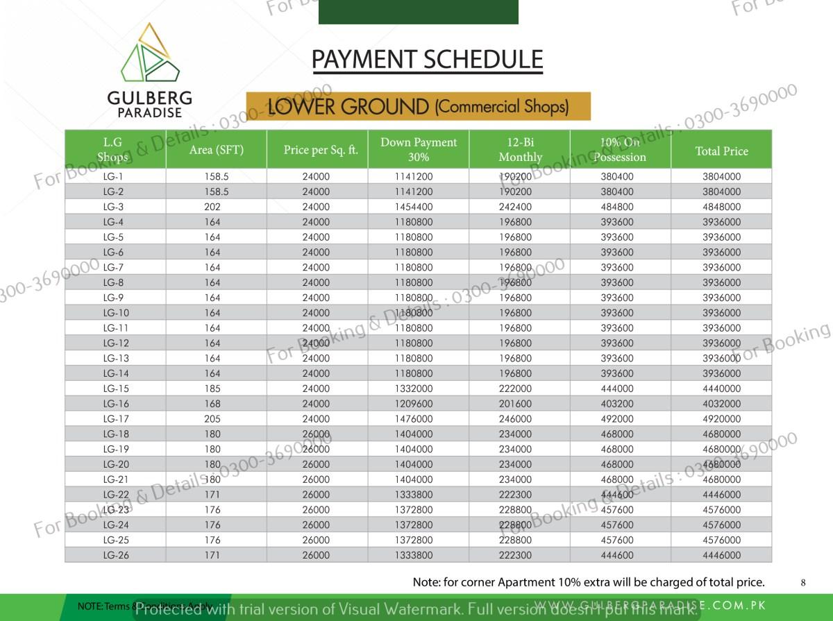 LG floor payment plan