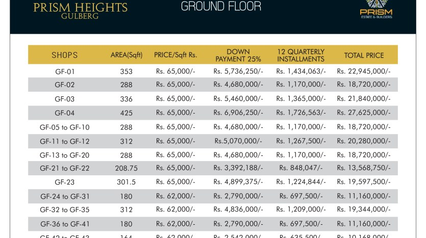 Prism heights gulberg Ground floor plan 01