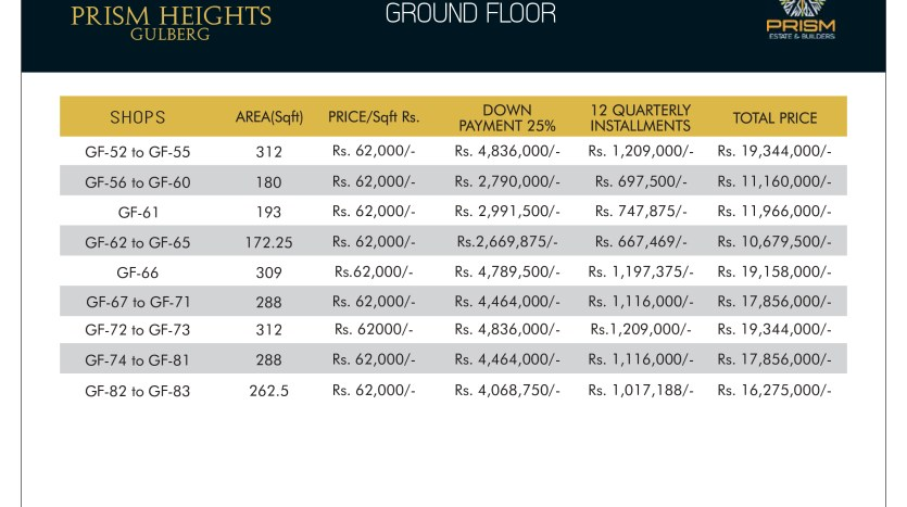 Prism heights gulberg Ground floor plan