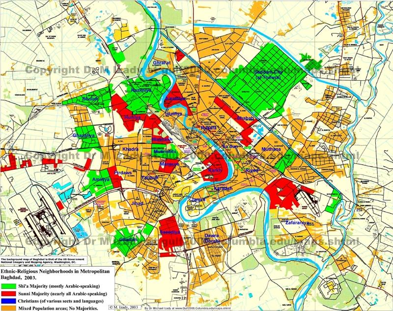 Green – Shiite majority Red – Sunni majority  2003 Baghdad Ethnic Blue – Christian majority Yellow – Mixed Sunni