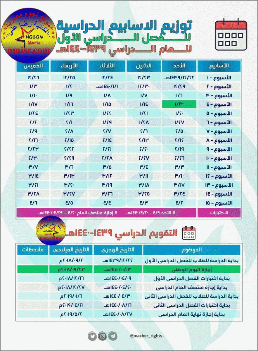 جدول التقويم الدراسي 1439 1440 بالسعودية نتائج الطلاب نظام نور