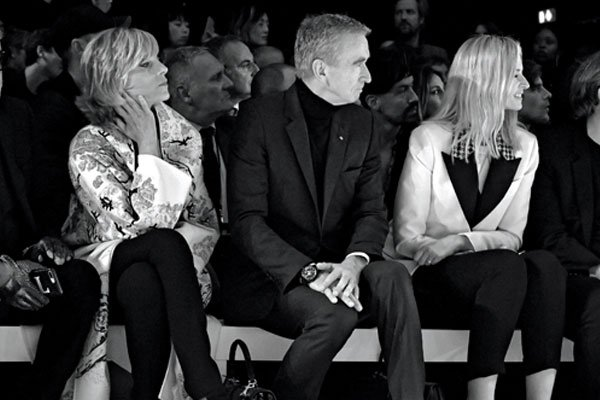 Helene Arnault, Bernard Arnault and Delphine Arnault at the Celine SS19 show