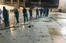 Makkah clears up swarms of black crickets at the Grand Mosque, across the city