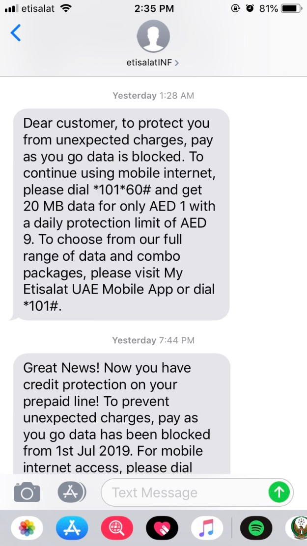UAE's TRA stops Etisalat and du from offering pay-per-use data plans