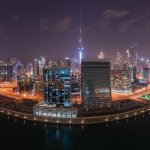 Doha Skyline, Qatar Cityscape from Above at Night