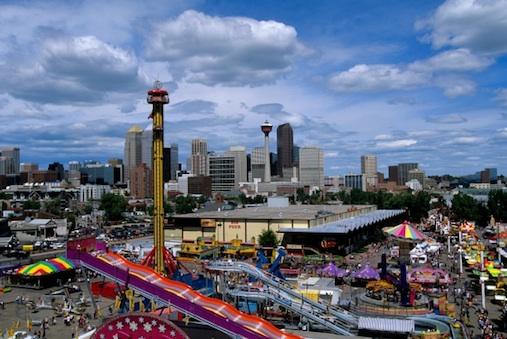 Canada, Alberta, Calgary, Calgary Stampede Park, Downtown In