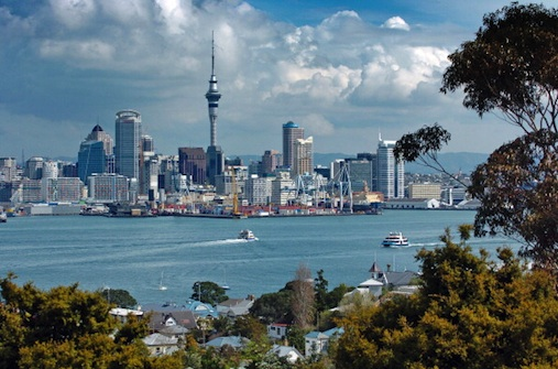 Auckland Skyline Showing Auckland Harbor And The Residential District Of Devenport