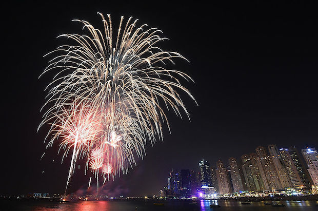 A general view of a fireworks display in Dubai, UAE as part of Eid celebrations.
