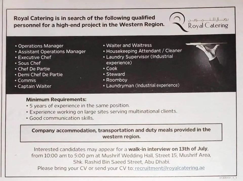 Royal-Catering | Gulf Career Hunt