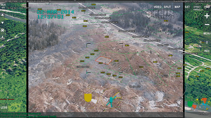 Overlay of house addresses and parcel information over the Oso Mudslide disaster area.