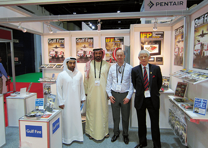 Left to right: DCD Colonel Ali Almutawa and Major General Matroushi FIFireE, Director General of DCD, pictured with Gulf Fire's Dave Staddon and Neil Wallington on the MDM Stand during Intersec 2016.