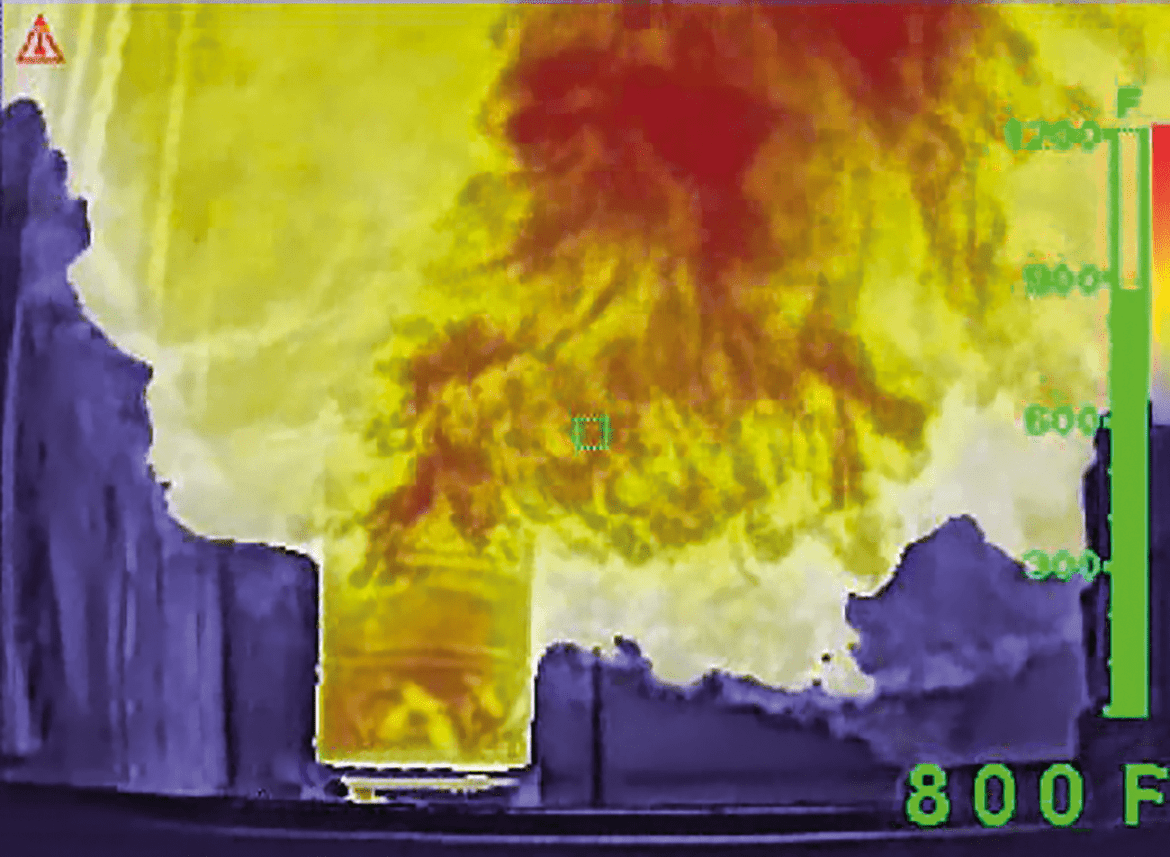 A thermal imager colorizes the hottest elements of a fire to help firefighters see the dangers around them.