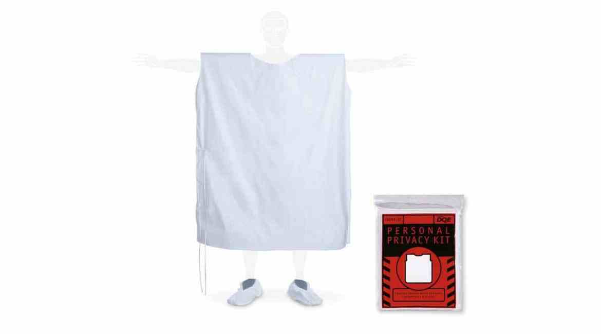 The Doff-it® Personal Privacy Kit contains a privacy garment, collection bag for contaminated clothing, clear sealable bag for valuables, foot covers, moist towelettes, paper towel, and pen.