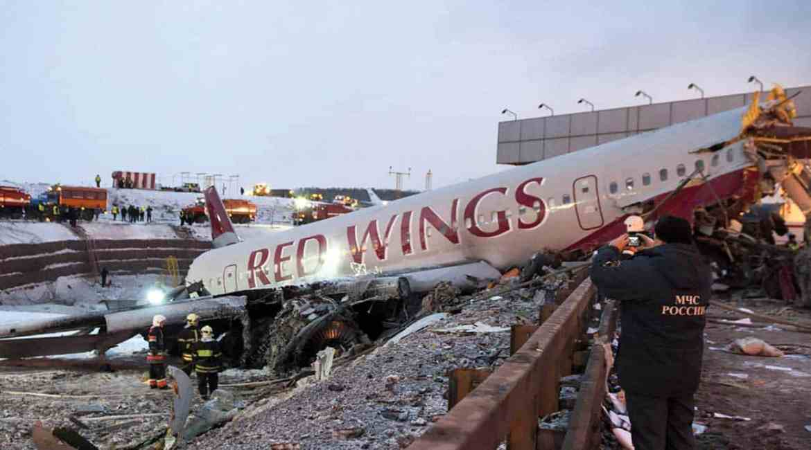 Red Wings flight # 9268 Crash at Moscow Vnukovo airport on December 29, 2012.