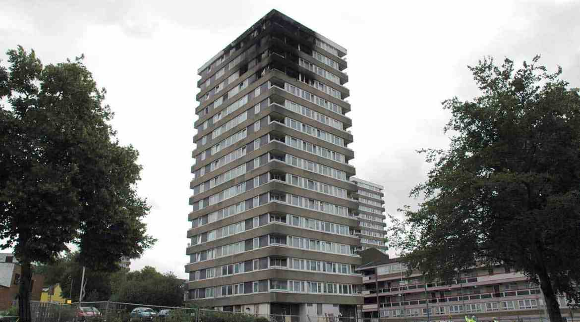 Figure 2 – Block of flats showing extent of fire damage caused by holes in compartmentation on balconies