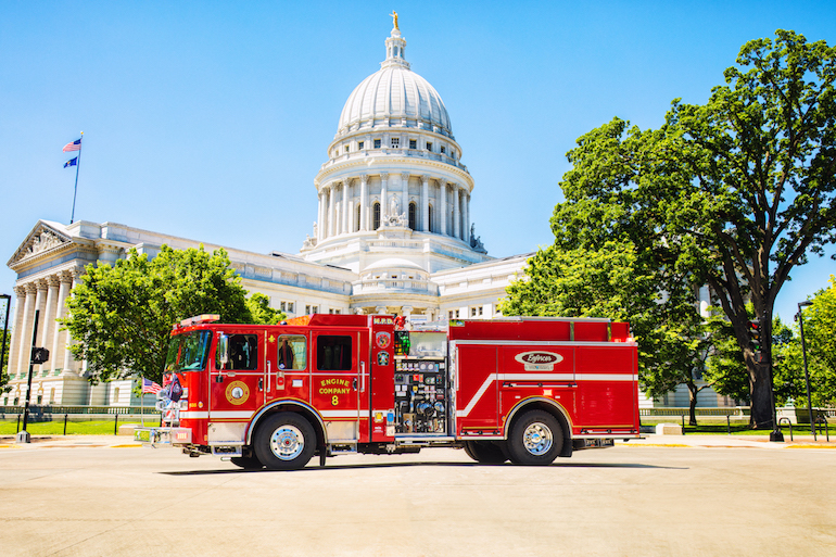 The first Pierce Volterra zero-emissions pumper has been placed in service with the City of Madison Fire Department.