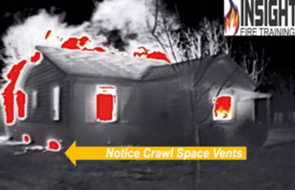 A thermal image of a house fire during size-up where the crawl space vents are showing high heat signatures indicative of fire beneath the floor.