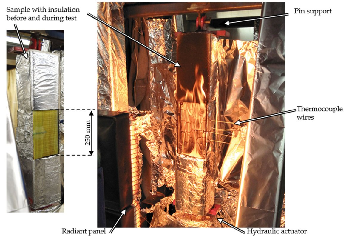 Left: CLT column with glass-fibre mat, thermocouples and insulation before heating. Right: Burning CLT column (without glass-fibre mat) exposed to mechanical load in the loading frame, placed at a carefully calibrated distance in front of a gas-fired radiant panel to achieve the desired radiant heating. This picture was taken shortly after ignition but before the first char fall-off occurred.