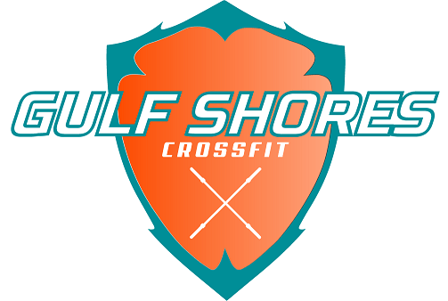 Gulf Shores CrossFit Shield and barbell logo
