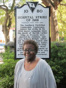 Mary Moultrie at Hospital Workers' Strike Marker