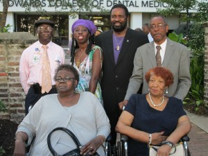 Queen Quet, Chieftess of the Gullah/Geechee Nation, Wendell Gaillard of the SC General Assembly, and two of the Charleston Town Councilmen stand proudly as leaders of the day with Ms. Moultrie and marchers that led the movement for equality in the past.