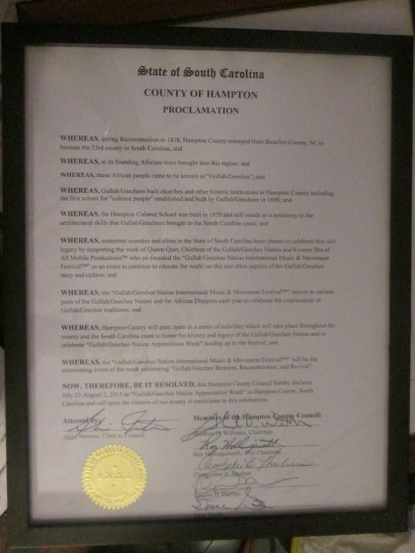 Hampton County Gullah/Geechee Nation Appreciation Week Proclamation