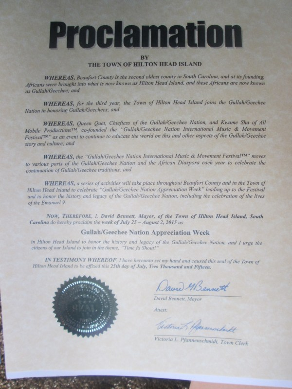 Hilton Head Gullah/Geechee Nation Appreciation Proclamation