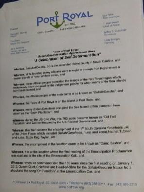Port Royal Gullah/Geechee Nation Appreciation Week Proclamation Pg 1