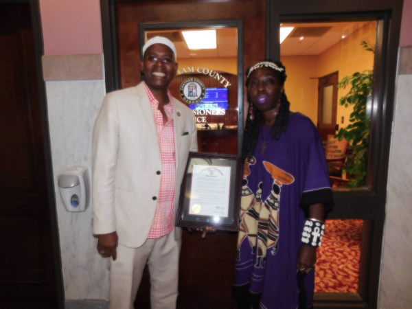 Dr. Amir Toure and Queen Quet with Chatham Cty Gullah/Geechee Proclamation