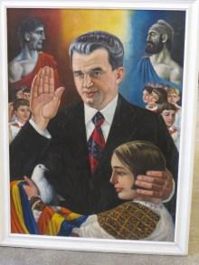 Dako-rumänsk kontinuitetsteori i kommunistisk propagandadräkt på fängelsemuseet.