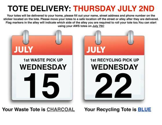 Advanced Wast Solutions Tote Delivery Information GULL LAKE  Community Advanced Waste Solutions