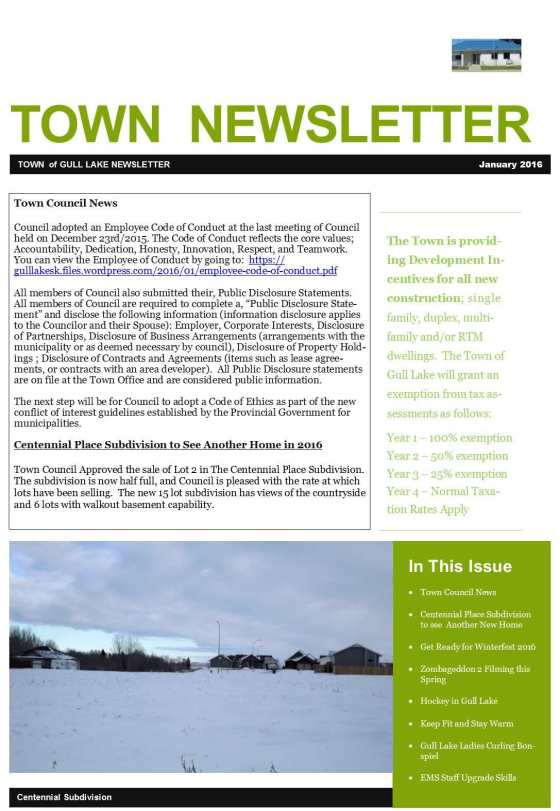 February Town Newsletter Government GULL LAKE Health & Wellness SouthWest Saskatchewan  Town Council Newsletter Community