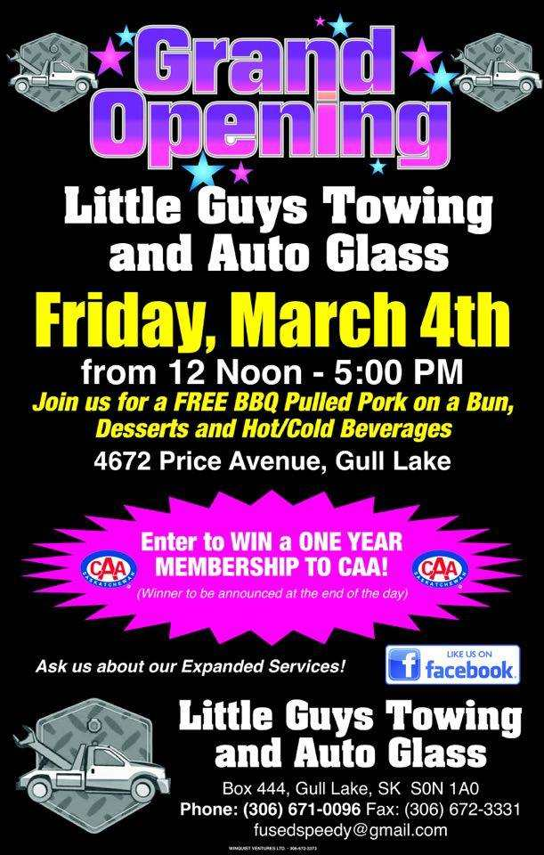Little Guys Towing and Auto Glass Grand Opening Business GULL LAKE  Small Business